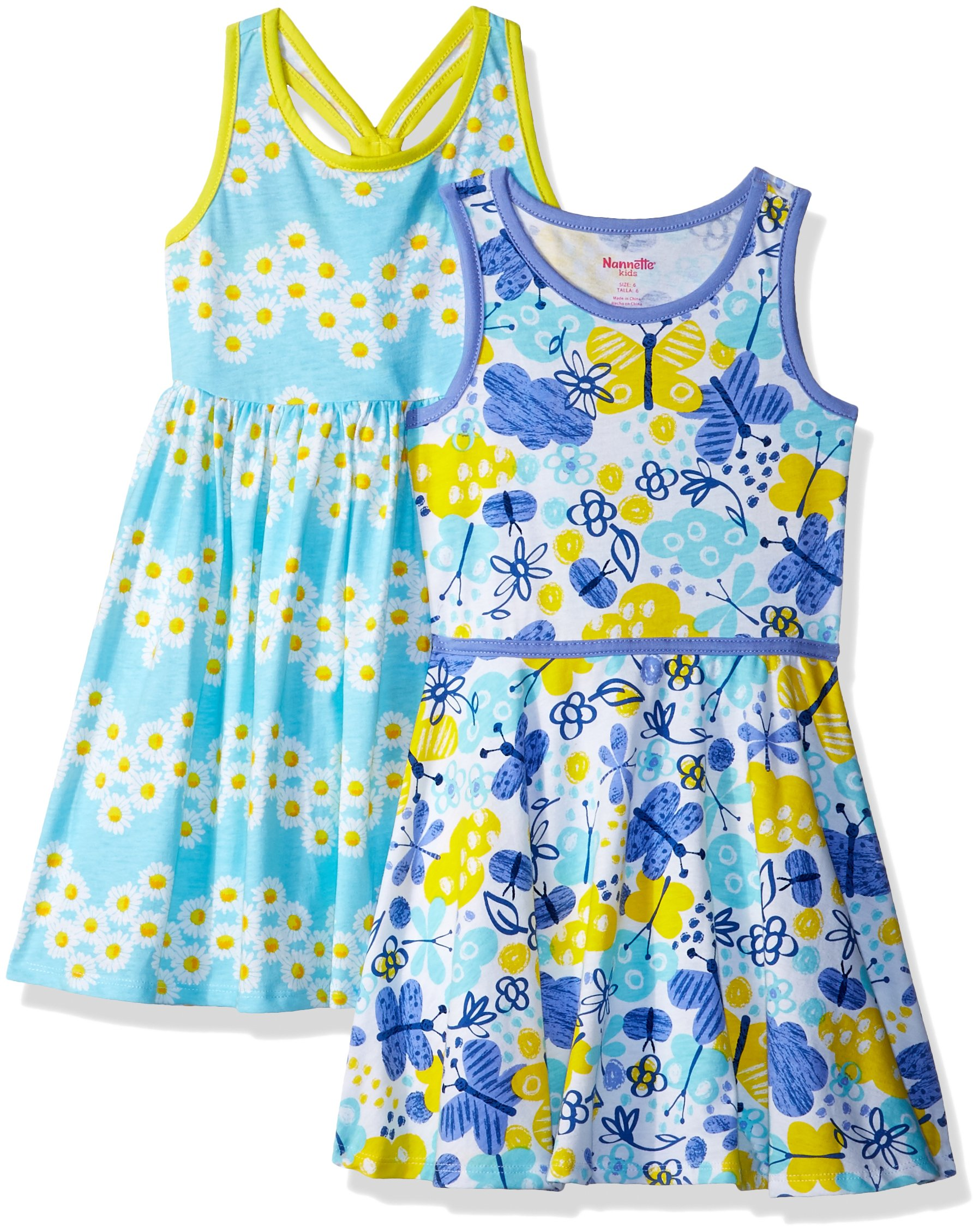 Nannette Little Girls' 2 Pack Knit Dresses, Aqua, 6