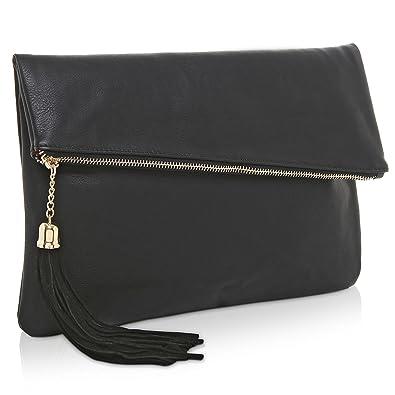 a4f098d6b7a MG Collection Foldover Clutch Purse/Fashion Evening Handbag with Tassel,  Black: Handbags: Amazon.com