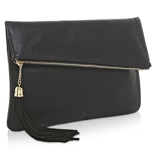 782bd3c060 MG Collection Foldover Clutch Purse/Fashion Evening Handbag with Tassel,  Black: Handbags: Amazon.com