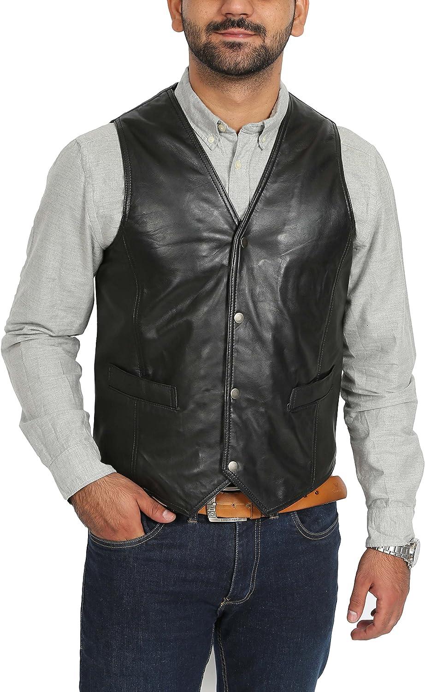House Of Leather Chaleco de Cuero Real para Hombre Gilet Clásico de Estilo Tradicional Petrelli Negro