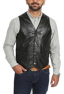 House Of Leather Chaleco de Cuero Real para Hombre Gilet Clásico de Estilo  Tradicional Petrelli… aa196a0d8efe