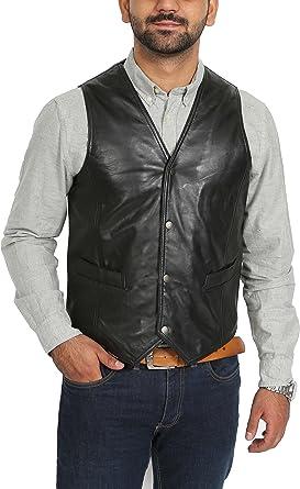 Chaleco de cuero para hombre estilo Revolver color Negro