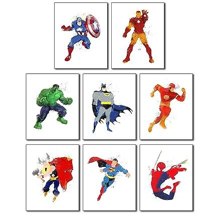 Superhero Wall Art Poster Prints   Set Of Eight 8x10 Watercolor Photos  Captain America   Ironman