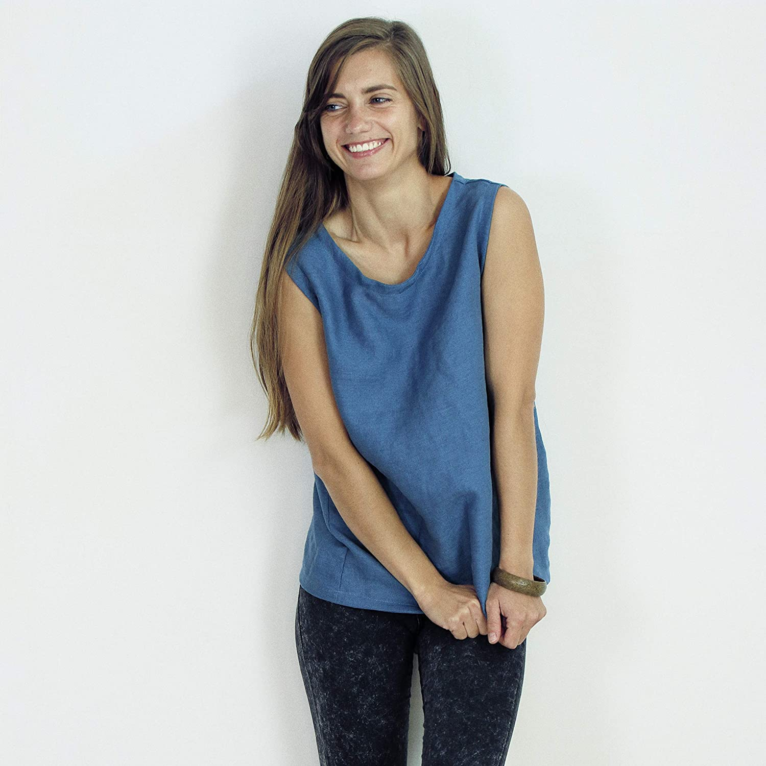 Linen Top Natural  Washed Linen Blouse  Sleeveless Linen Shirt  Basic Linen Top  Linen Tank Top
