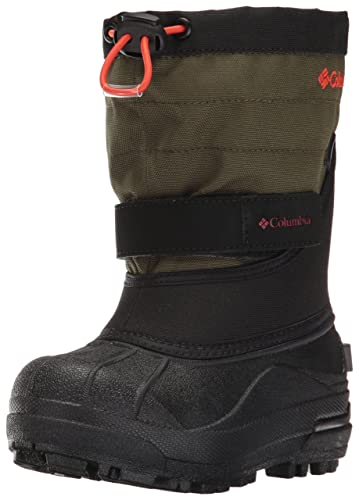 Columbia Unisex-Kids Childrens Powderbug Plus II Snow Boot, Black, Spicy, 8