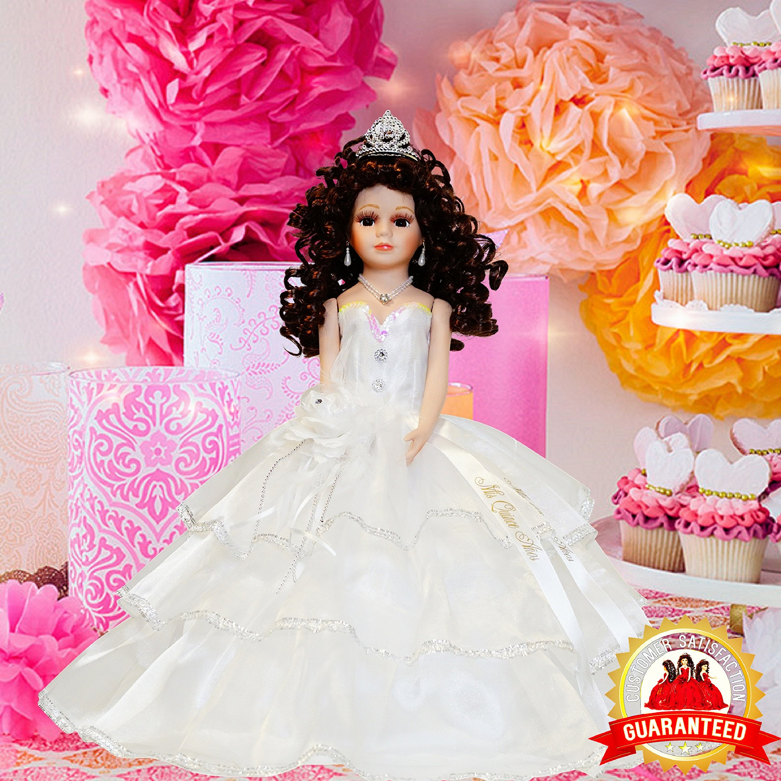 Kinnex Collections by Amanda 18'' Porcelain Quinceanera Umbrella Doll (Table Centerpiece)~White~ KB18724-1B