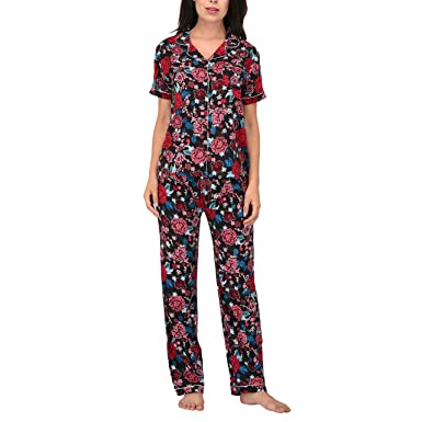 57861f8cc6a9 Women s Printed Sleepwear 2 Pc Short Sleeve Pajama Notch Collar Top   Pajama  Pants Set