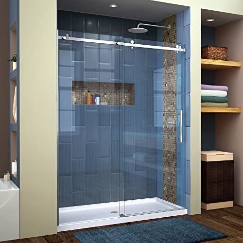 DreamLine SHDR-64607610-07 Enigma Air Frameless Sliding Glass Shower Door, 56-60 W, x 76 H, Brushed Stainless Steel