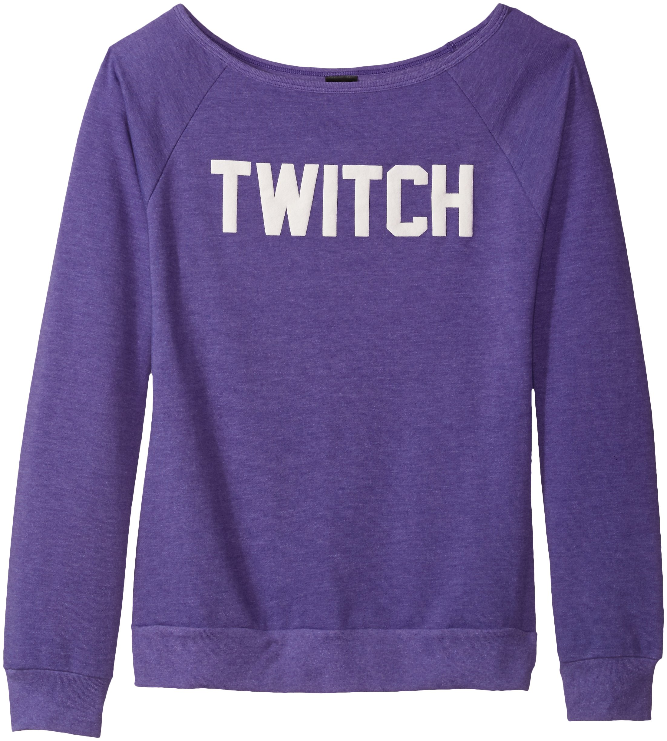 Twitch Ladies Off The Shoulder Sweatshirt (Medium, Heather Purple)