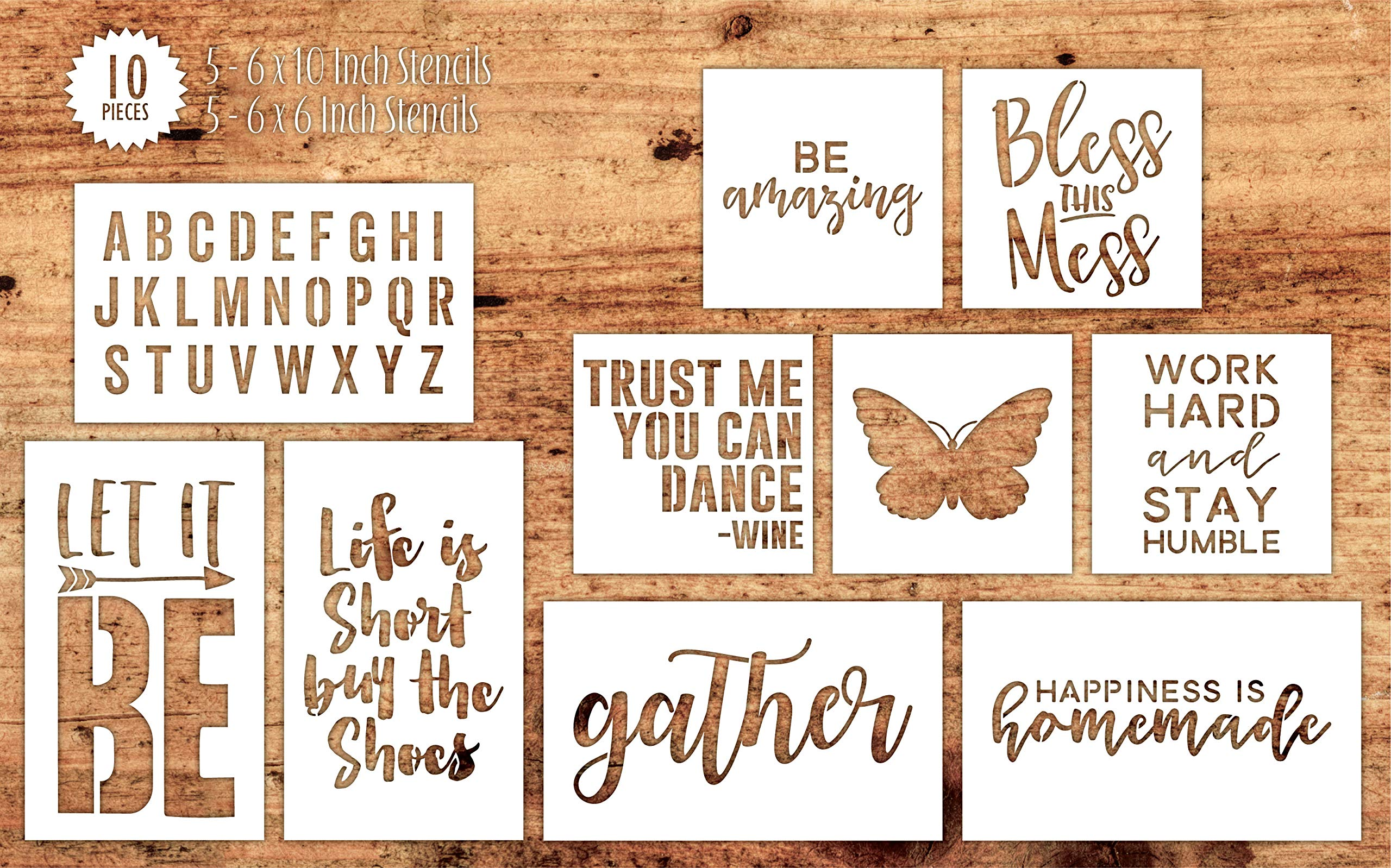 Hampton Art Mix The Media 10-Piece Set Reusable Mix Stencil - Life is Short