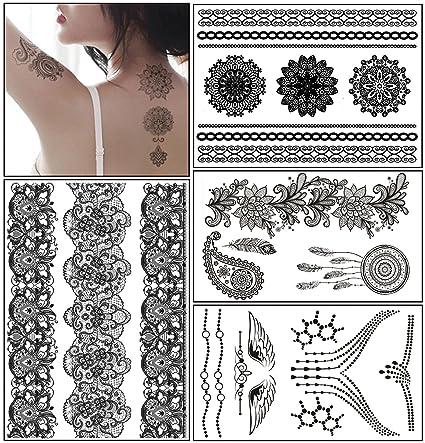 0619e72cdf5ce Glamorstar Temporary Tattoo Stickers, Fashion Black Lace 4 Different Sheets  Waterproof Body Art Tattoo Sticker