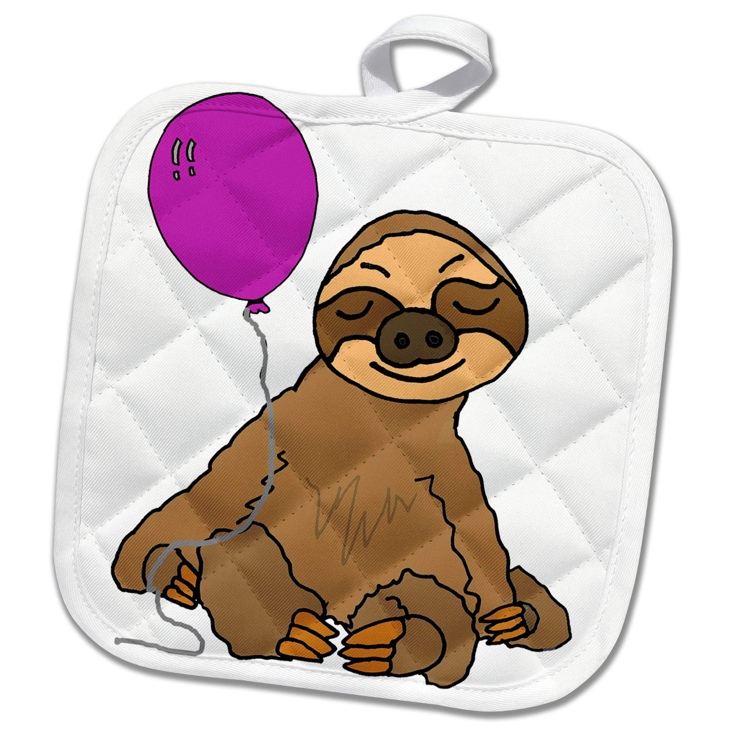 3dRose All Smiles Art Animals - Funny Sloth with Purple Balloon Cartoon - 8x8 Potholder (phl_288116_1)