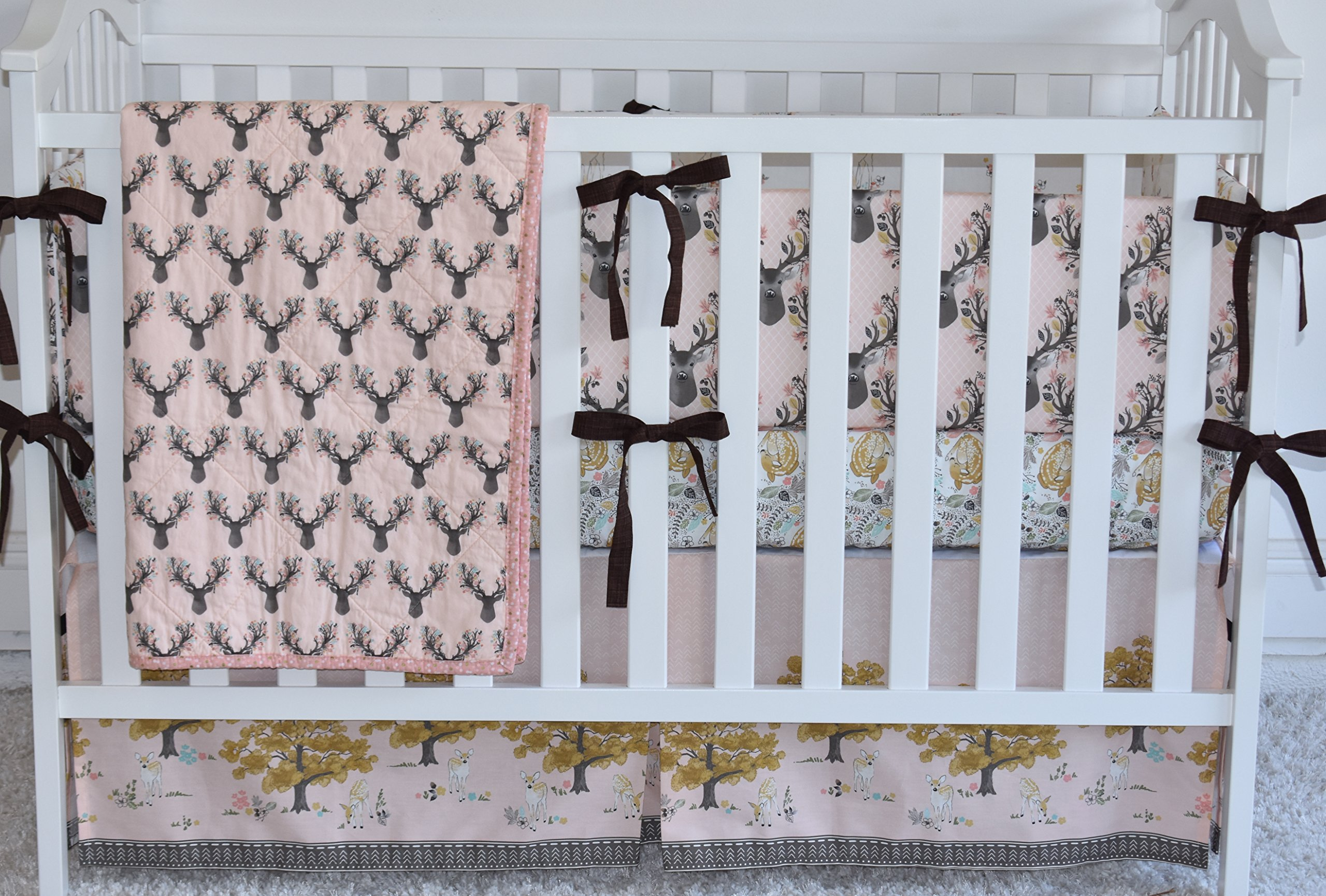 Antlers in Shell Crib Bedding, antlers, deer, fawn, sheet, quilt , skirt