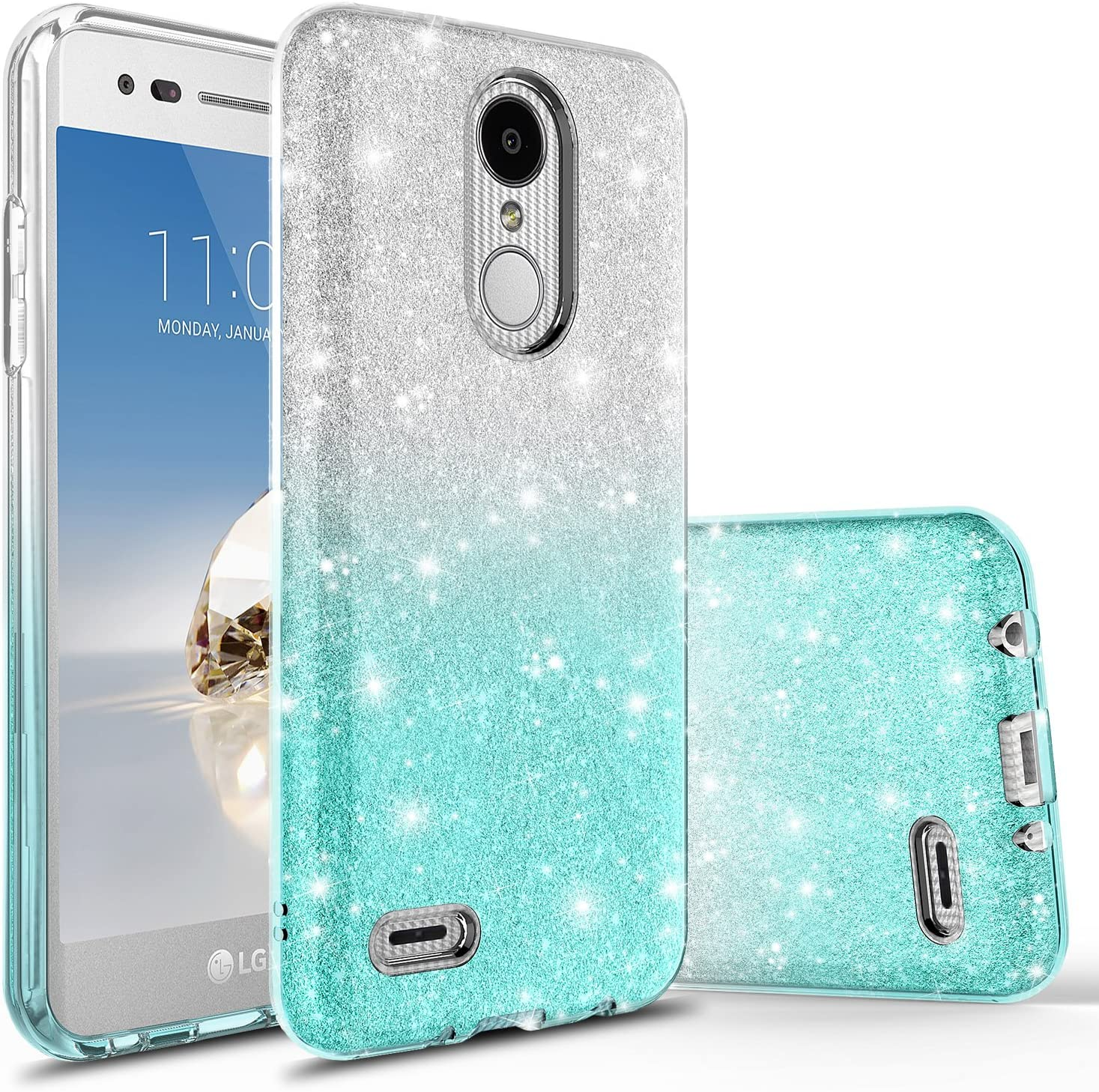 LG Premier Pro LTE Case, LG K30 Case, LG K10 2018 Case With Tempered Glass Screen Protector, Rosebono Fashinon Slim Shinning Sparkle Bling Glitter Sparkle Protective Case for LG K30 (Silver / Teal)