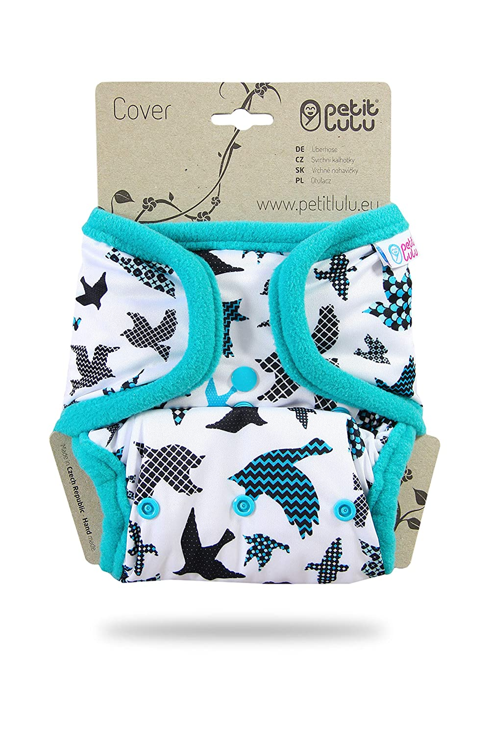Snaps Waterproof Made in Europe One Size Reusable /& Washable Petit Lulu Diaper Wrap Forest Animals