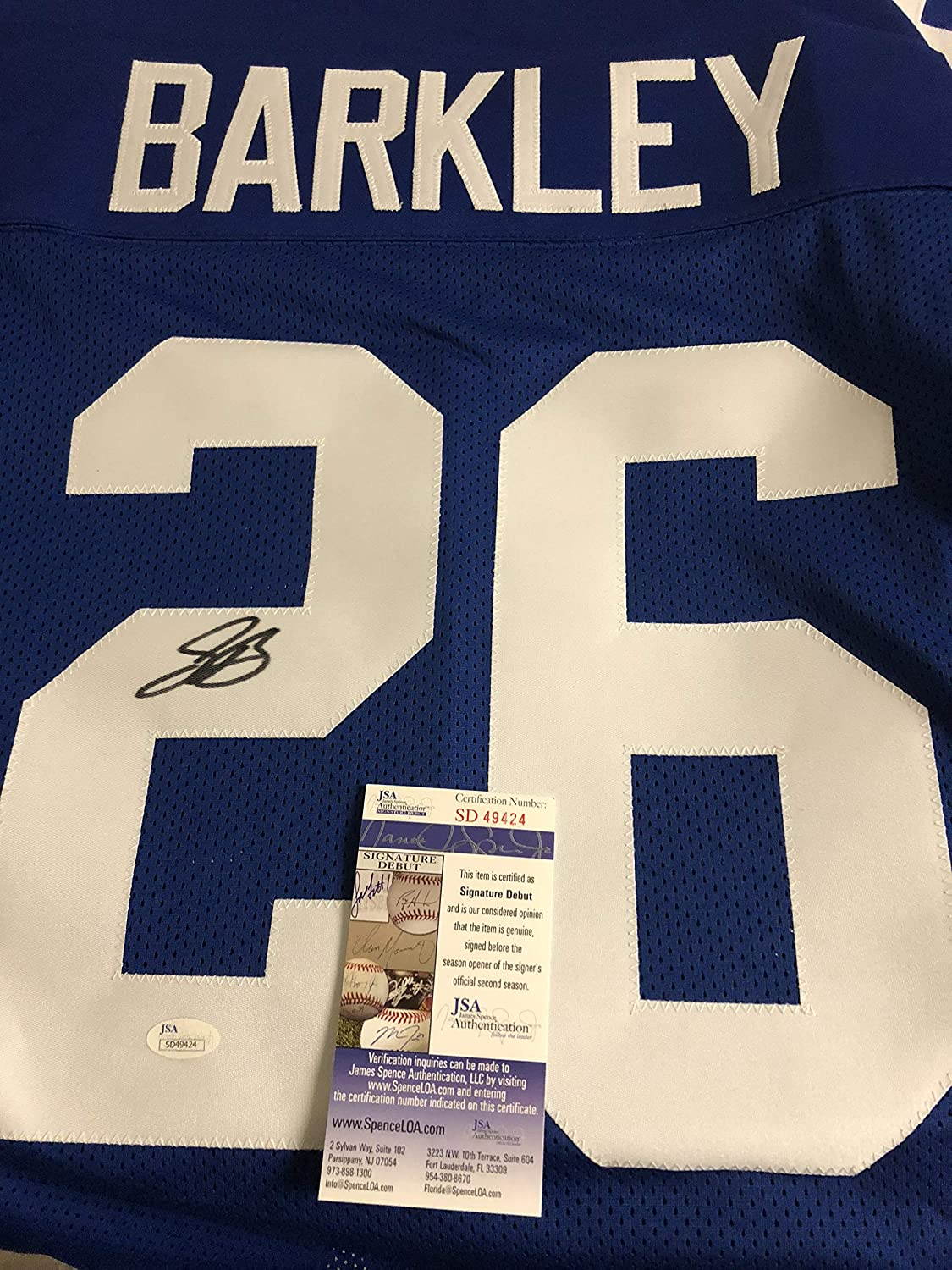 Autographed Saquon Barkley New York Giants Jersey JSA certified signed