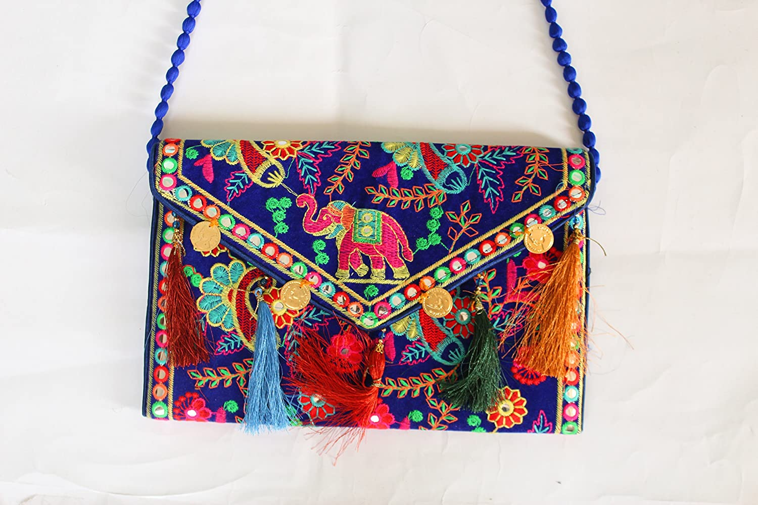 5ae01d5ae08f Hippie Handmade handbags for women Cotton Elephant Embroidery coin work  Ethnic Vintage bohemian Tribal Banjara Clutch Black Bags Purse  Amazon.in   Clothing ...