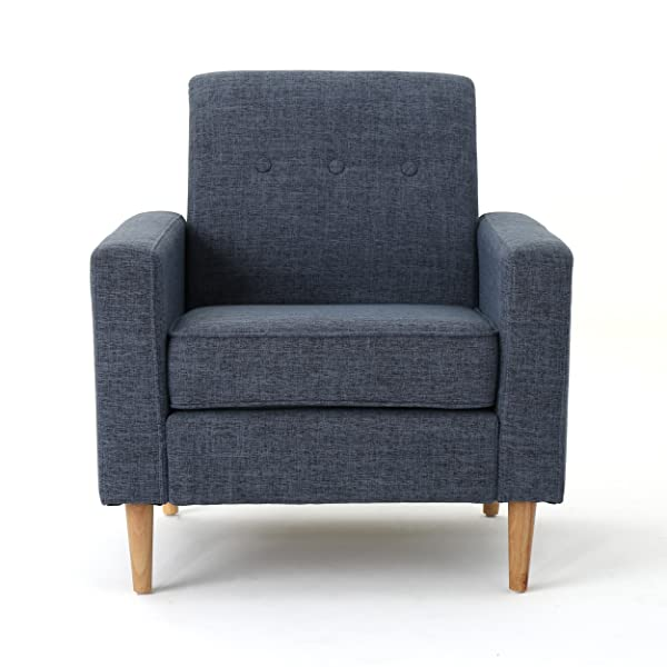 Great Deal Furniture Samuel Mid Century Modern Dark Blue Fabric Club Chair and Ottoman Set