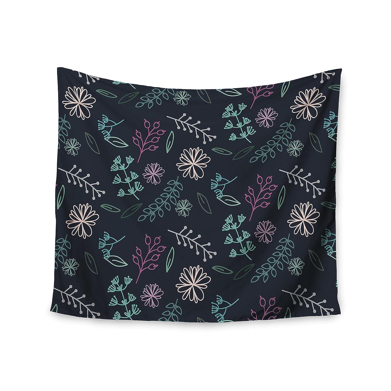Kess InHouse Louise Flower III Blue Teal Wall Tapestry 51 X 60