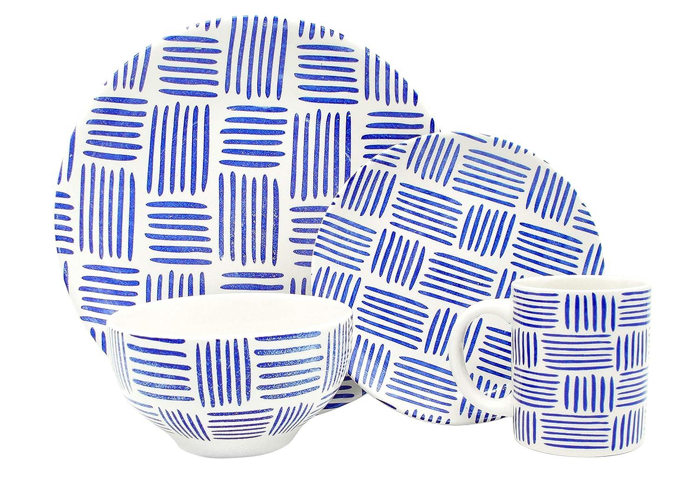 Melange Coupe 36-Piece Porcelain Dinnerware Set (Indigo Tally Marks Collection) | Service for 12 | Microwave, Dishwasher & Oven Safe | Dinner Plate, Salad Plate, Soup Bowl (12 Each)