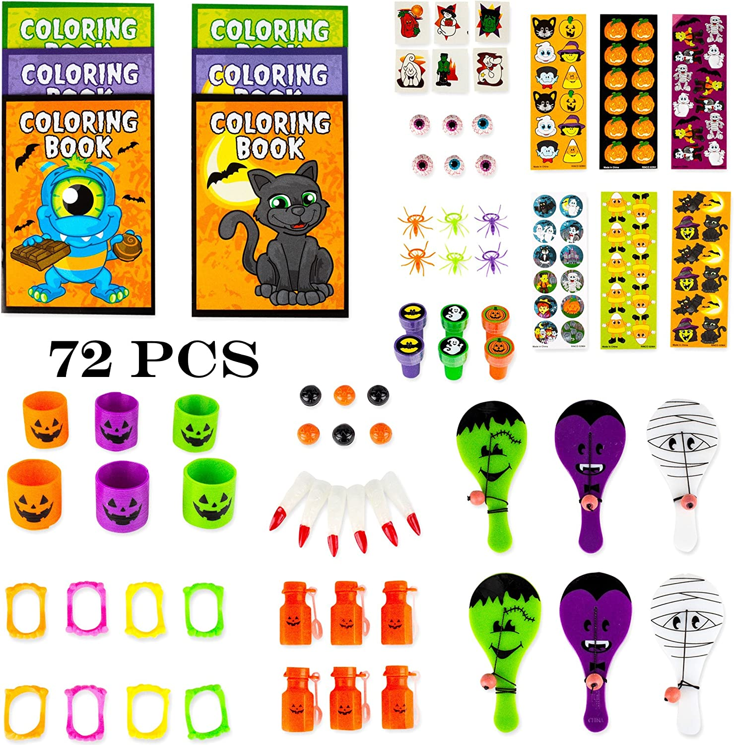 FUN LITTLE TOYS 72 PCs Halloween Party Supplies Toy Assortment Goodie Bags for Kids Trick-or-Treat Bags Prefect Halloween Party Decorations