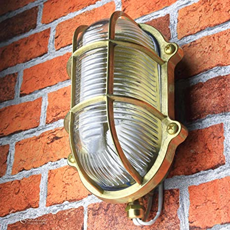 Lámpara de exterior Pared Marítimo Latón auténtico Pantalla de ...