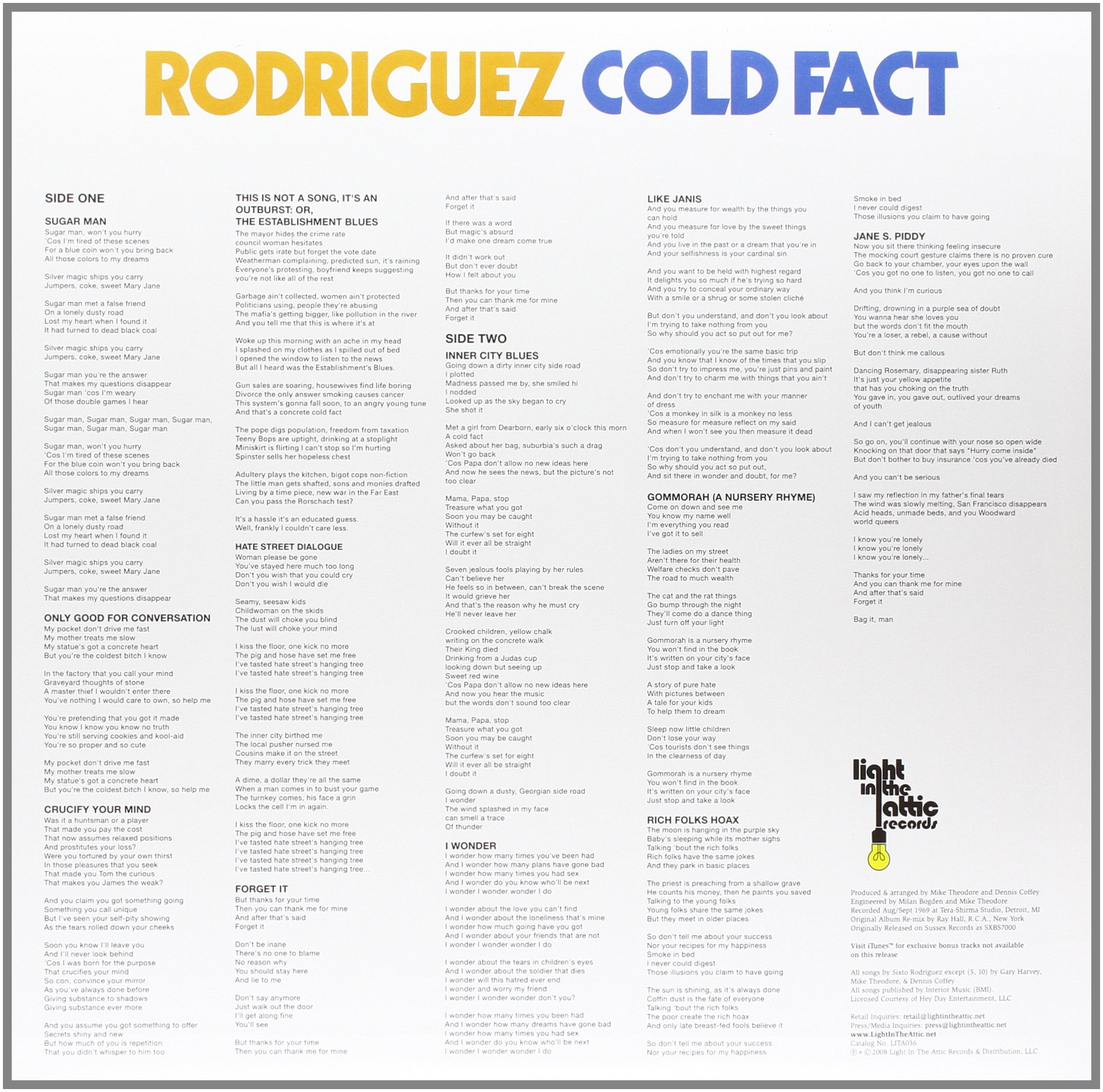 Cold Fact [180 Gram Vinyl] by VINYL