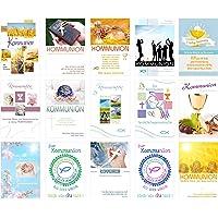 Set 15 Premium Kommunionskarten mit Umschlag (Doppelkarten/Klappkarten mit Briefumschlag) Karte Postkarte Kommunion