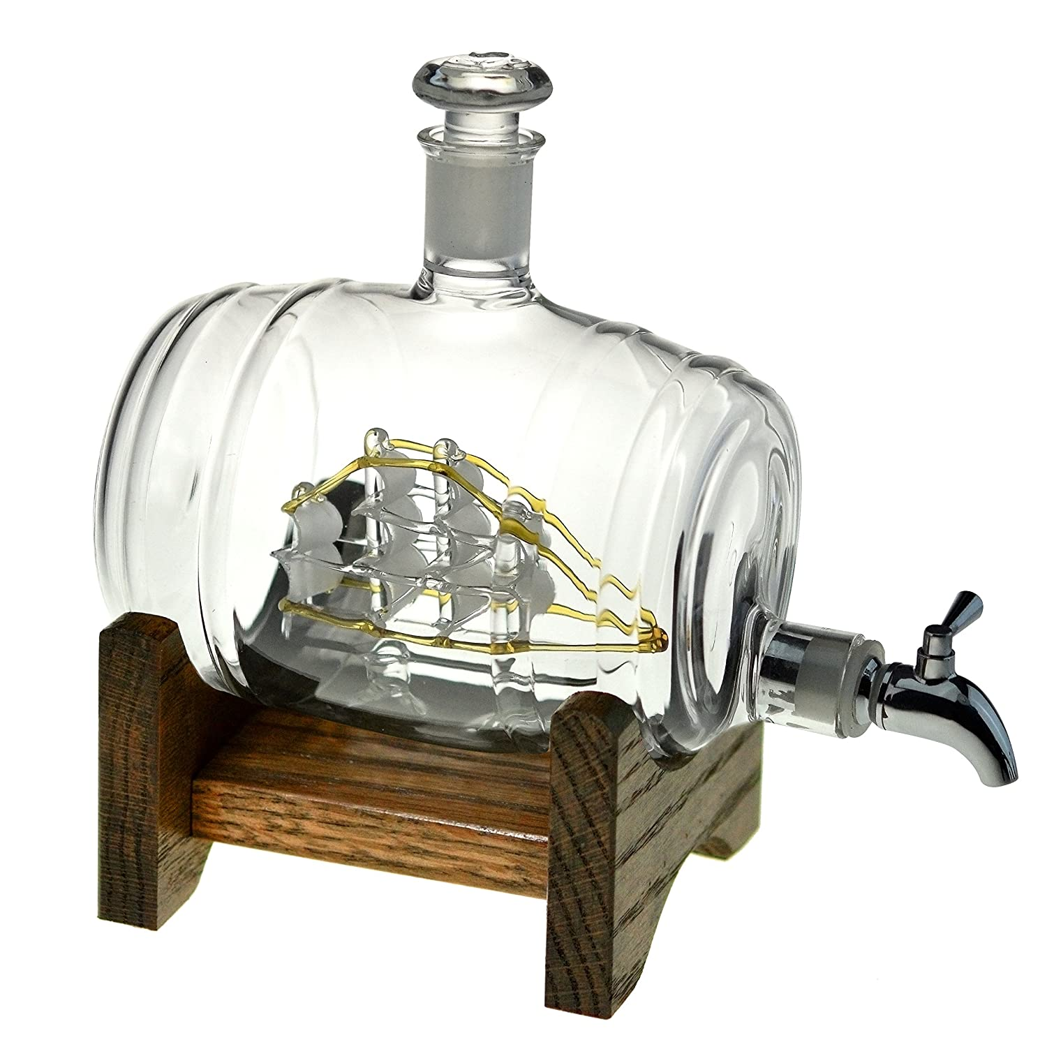 Bourbon Barrel Whiskey Decanter With Ship - 1000ml Liquor Dispenser - Sailing/Boating Gifts for Men and Women, Nautical Decor Retirement Gift (Tomoka Gold)