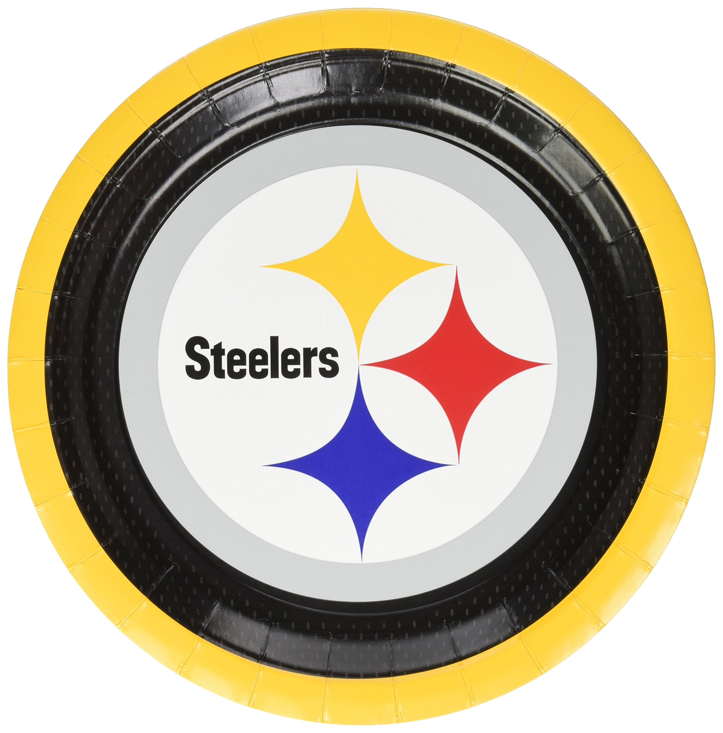 Amscan ''Pittsburgh Steelers Collection'' 9'' Round, Party Plates, 48 Ct.