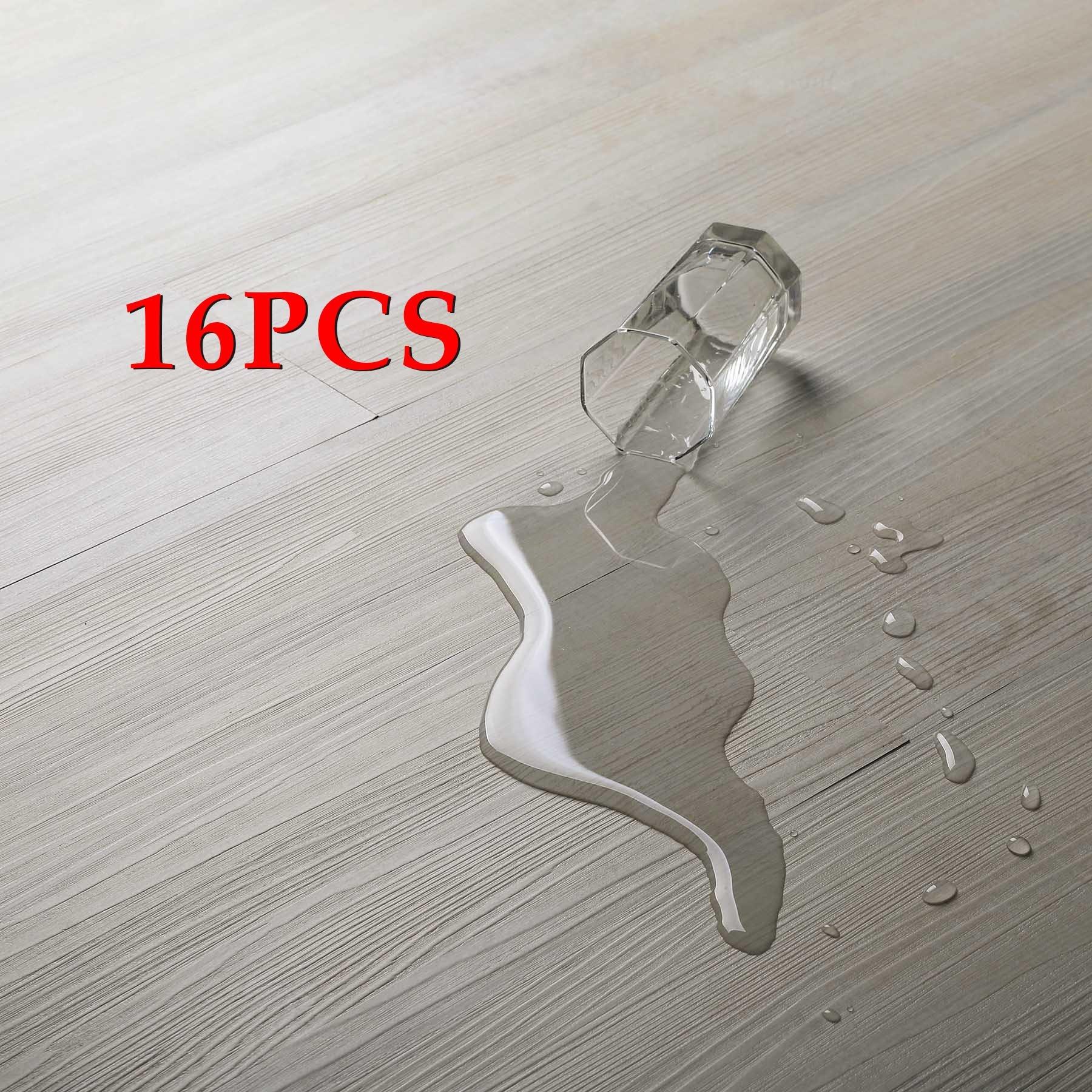 16 PCS/24 Square Feet, CO-Z Odorless Vinyl Floor Planks Adhesive Floor Tiles 2.0mm Thick, Environmental-Friendly (Beige)