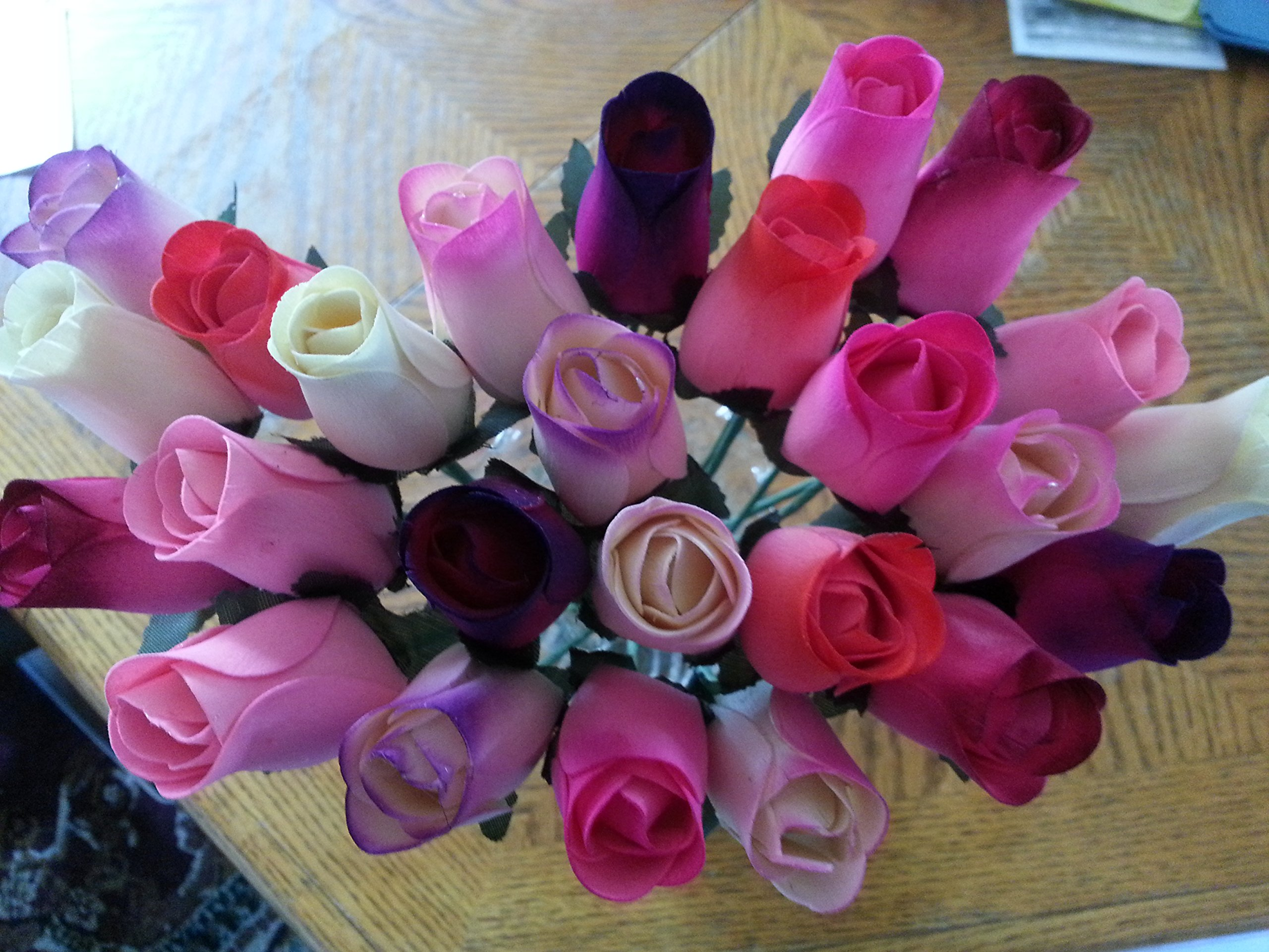 2 Dozen Wooden Roses Mixture of 8 Colors-Little Chicago Distributing by Little Chicago Distributing-Forever Wood Roses (Image #1)