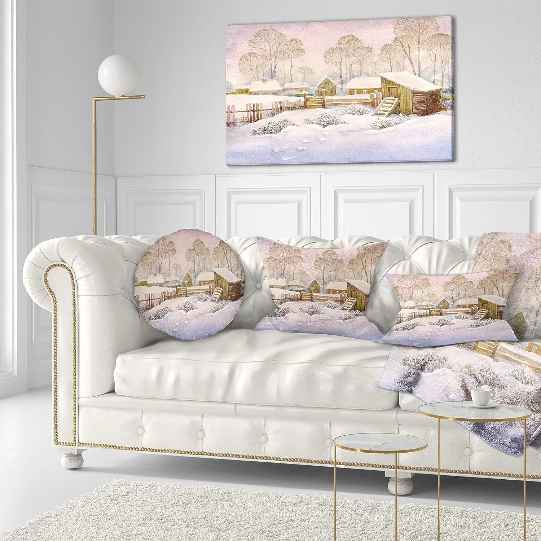 Designart CU9390-20-20-C Old Winter Village Throw Pillow 20