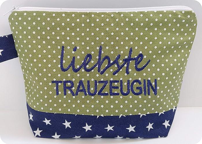 Kompliment 46 Geschenk bestickte Kosmetiktasche LIEBSTE TRAUZEUGIN Kulturtasche - Schminktasche - Tasche - MakeupBAG - Bag - Statement