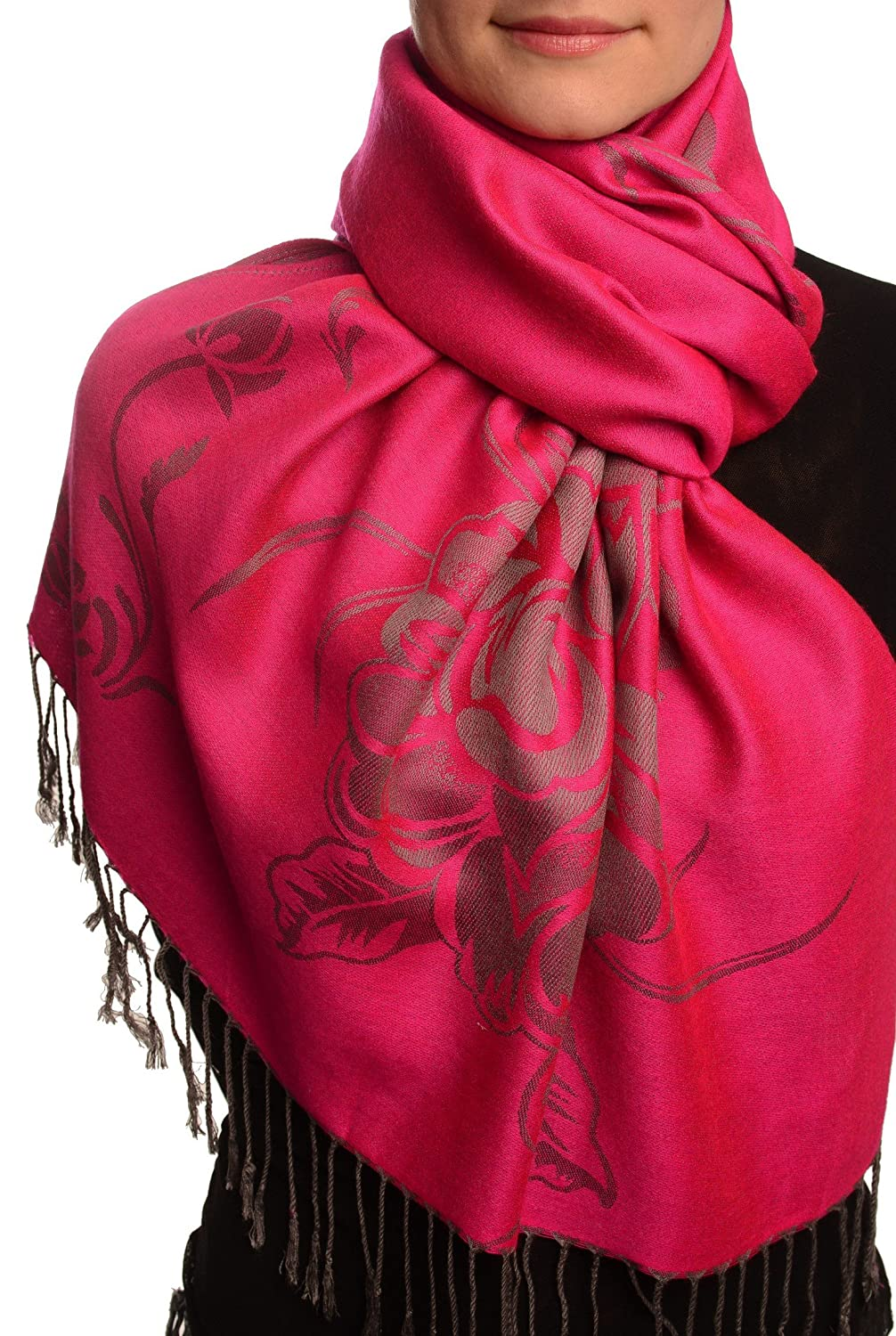 Large Roses On Fuchsia Pink Pashmina Feel With Tassels - Scarf