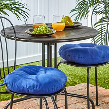 Greendale Home Fashions 15 Inch Round Indoor/Outdoor Bistro Chair Cushion,  Marine Blue