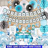 253 Piece Blue Elephant Baby Shower Decorations for Boy Kit - It's a BOY Pre-Strung Banners Garland Guestbook Sash…