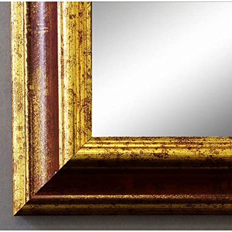 Espejo de pared Espejo Baño piso Espejo perchero Espejo – más de 200 tamaños – Bari Rojo Oro 4,2, Medida exterior, dorado, 80 x 100