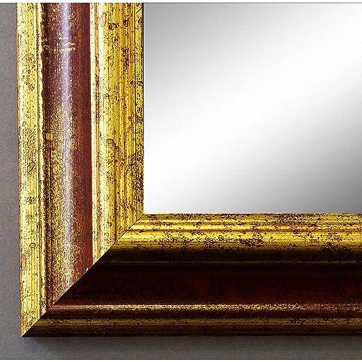 Espejo de pared Espejo Baño piso Espejo perchero Espejo – más de 200 tamaños – Bari Rojo Oro 4,2, Tamaño del cristal, dorado, 30 x 90