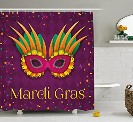 Ambesonne Mardi Gras Shower Curtain Festival Mask Design On Purple Backdrop With Stars And Colorful