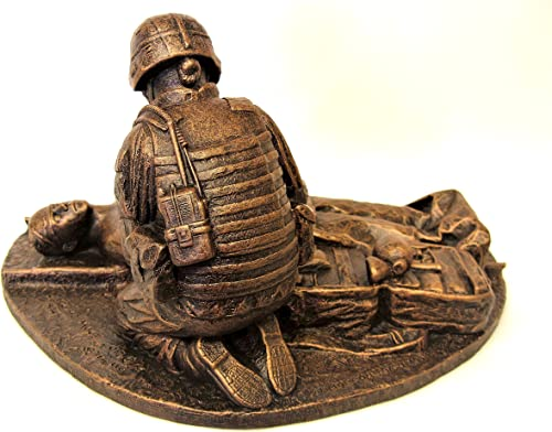 Terrance Patterson Gallery Small Female Combat Medic Statue, with Coin Holder, 12 x 9 x 8 inches