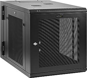 "StarTech.com 12U 19"" Wall Mount Network Cabinet - 4 Post 24"" Deep Hinged Server Room Data Cabinet- Locking Computer Equipment Enclosure w/Shelf - Flexible Vented IT Rack - Pre-Assembled (RK1232WALHM)"
