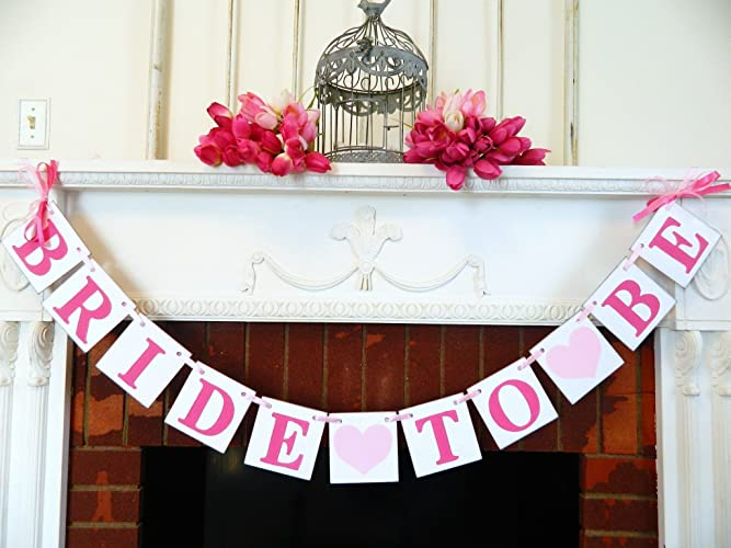 pink bridal shower decorations bride to be banner bachelorette party sign pink bridal