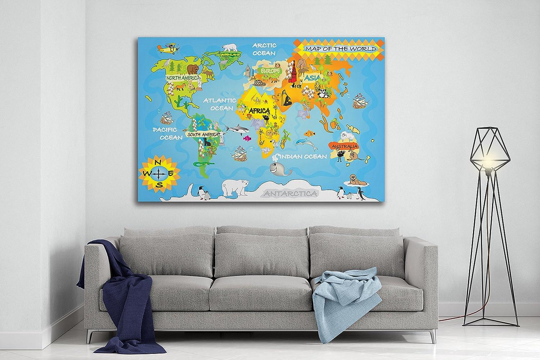 Kinder Karte der Welt wall Kunstdruck Panorama Leinwand Kunstdruck ...