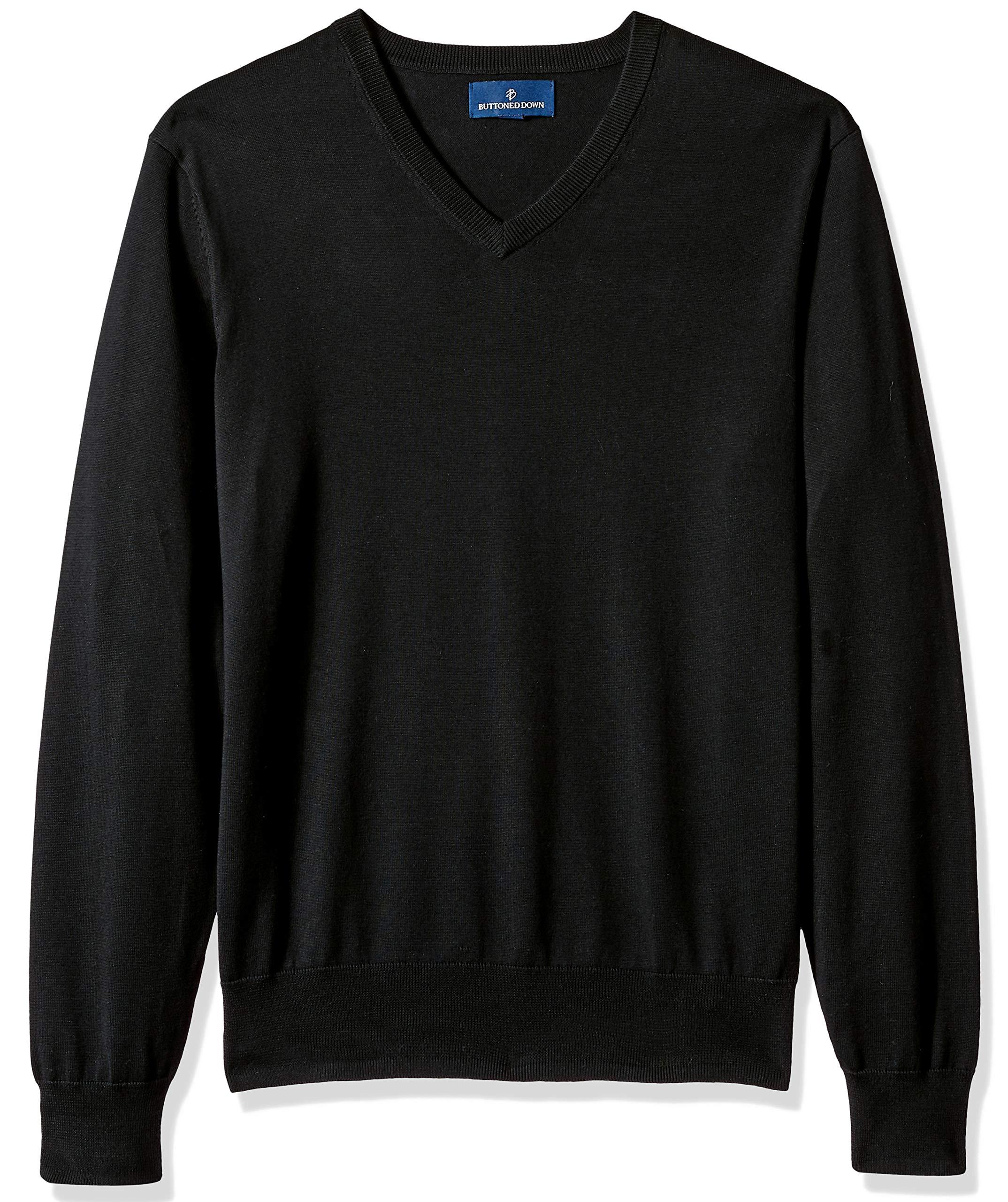 BUTTONED DOWN Men's Supima Cotton Lightweight V-Neck Sweater, black, XXX-Large