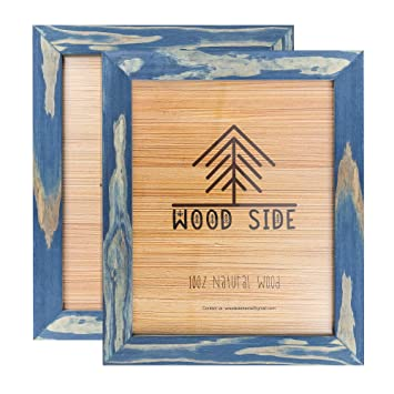 Amazoncom Rustic Wooden Picture Frames 8x10 Navy Blue Set Of