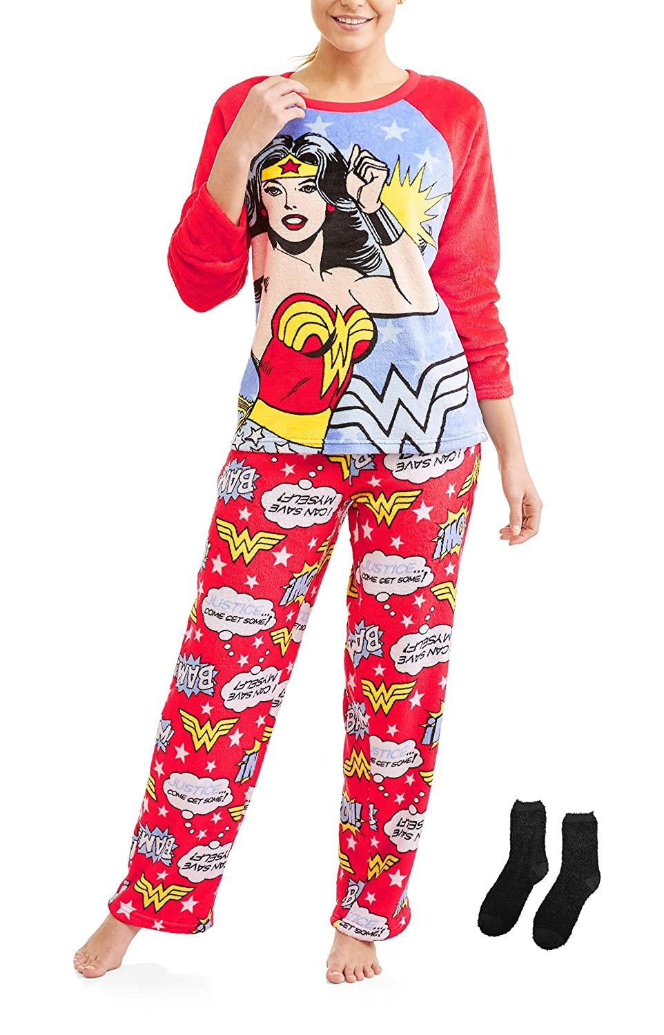 Richard Leeds International Women's Wonder Woman Plush Minky 2 Piece Pajama Set