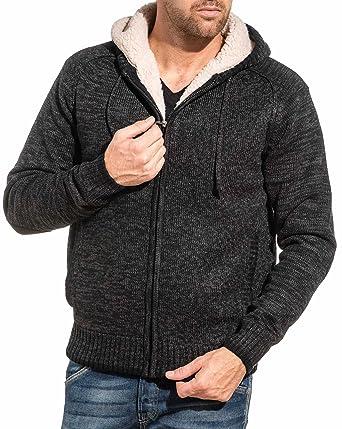 ca8869d7d3632 BLZ Jeans - Gilet fourré Homme Noir Maille épaisse Capuche - Couleur: Noir  - Taille