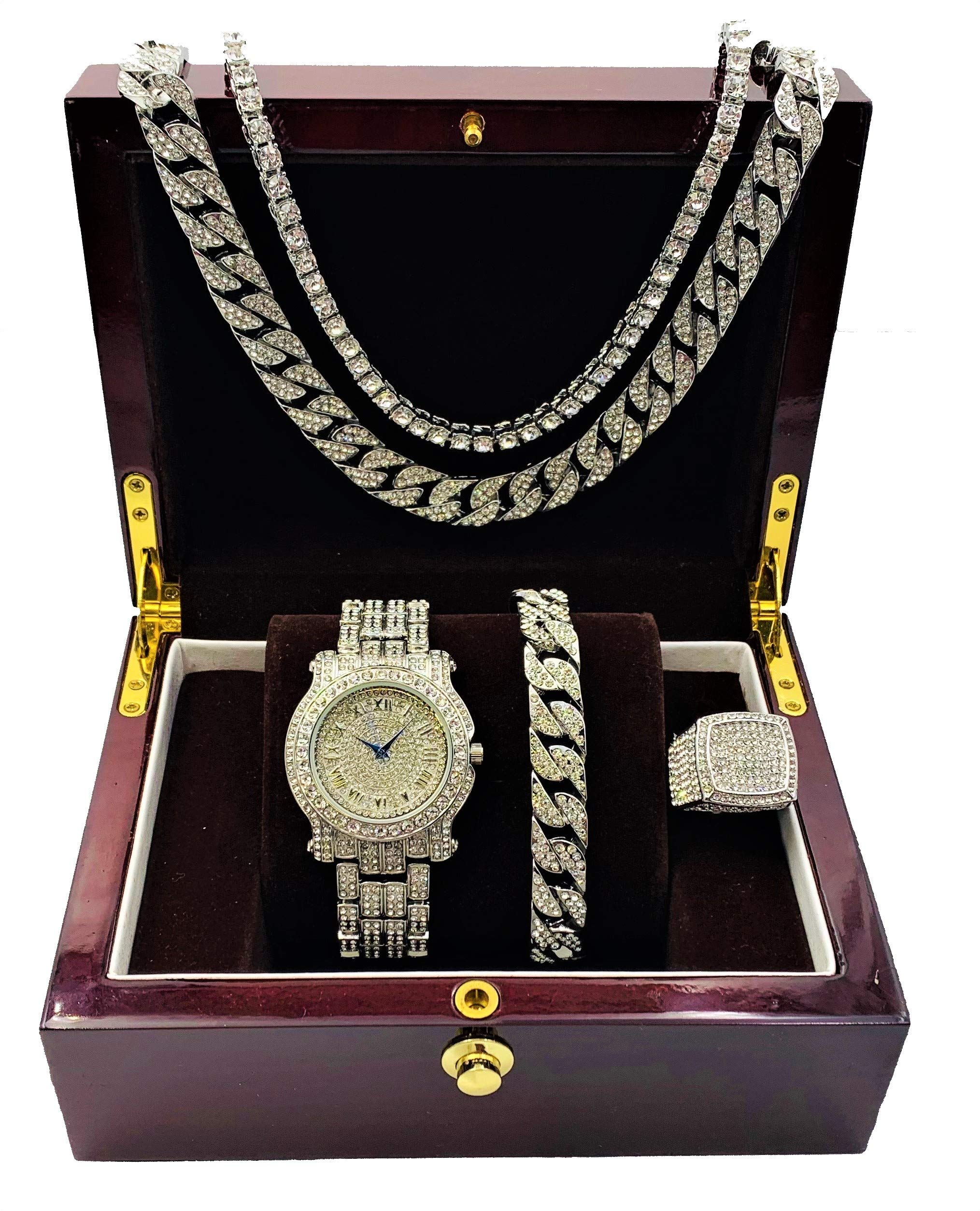 Fully Bling-ed Out Round Luxury Mens Watch w/Bling-ed Out Cuban Chain Bracelet, Cuban Necklace, Tennis Chain & Ring Size 10 - Silver - L0504BNTS(10)