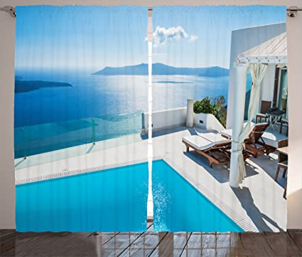 Amazon Com Lunarable Aqua Curtains Architecture On